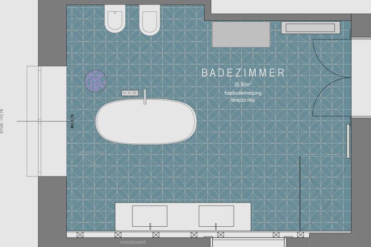 Plan des Badezimmers